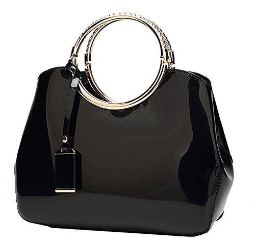 Yan Show Femmes Nouveau brevet en cuir shell sac sac ¨¤ main Messenger sac ¨¤ bandouli¨¨re Noir