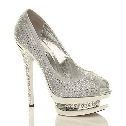 Ouvert Soirée Femmes Pointure Chaussures Argent Haut Talon Plateforme Strass Sandales qvxxFpH
