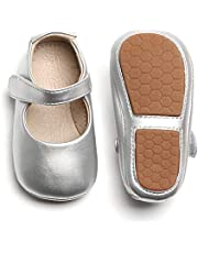 Felix & Flora Baby Girls Mary Jane Flats Rubber Sole Baby Walking Shoes Toddler Princess Dress Shoes