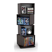 Atlantic 2823-5872 Rotating Cube 4-Tier Espresso Multimedia Storage Tower