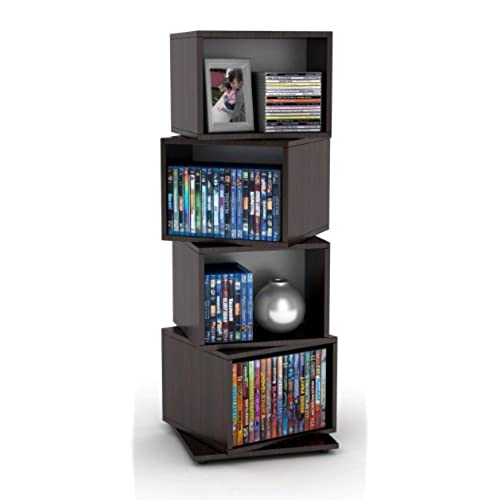 Atlantic 2823 5872 Rotating Cube 4 Tier Espresso Multimedia Storage Tower