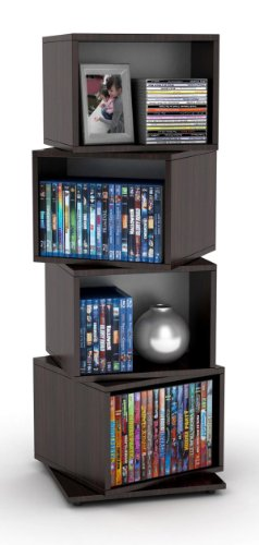 - Atlantic 2823-5872 Rotating Cube 4-Tier Espresso Multimedia Storage Tower