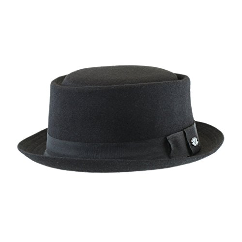 S/M Men's Classic Black Wool Blend Pork Pie Cap, Lined Winter Felt Fedora Hat