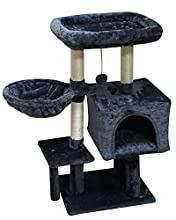 FISH&NAP US09YH Cat Tree Cat Tower Cat Condo Sisal Scratching Posts with Jump Platform Cat Furniture Activity Center Play House SmokyGrey