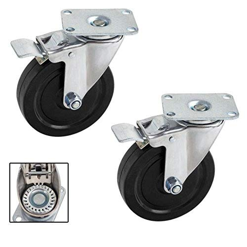 Pair Heavy-Duty 5 in. Swivel Casters with Double-Lock Brake - 600 LB for the Set of Two Caster Sets