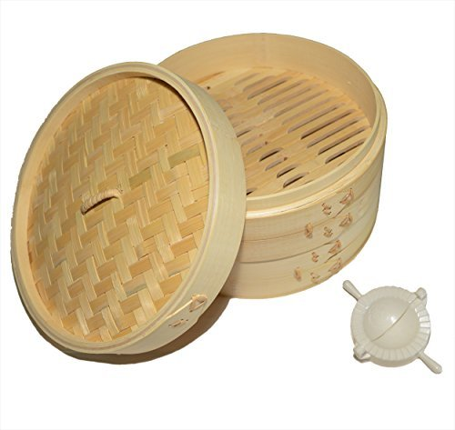 100% Natural Traditional Bamboo Steamer with 20 sheets of wax paper and mini dumpling press - Provides a healthier way to cook food while impressing (Bamboo Steamer Cleaning)