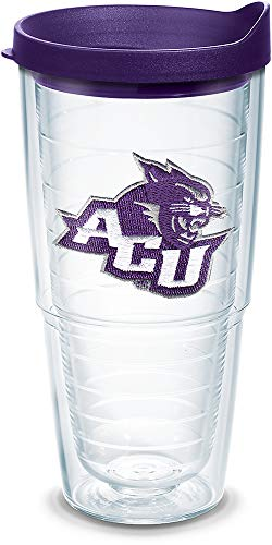 Tervis 1141473 Abilene Christian Wildcats Primary Logo Tumbler with Emblem and Royal Purple Lid 24oz, Clear
