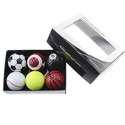 Crestgolf 6pcs Novelty Practice Golf Balls with Gift Box