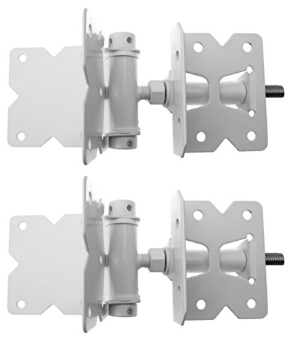 (Heavy Duty Stainless Steel Powder Coated PVC/Vinyl Gate Hinge Set and Screws-WHITE)