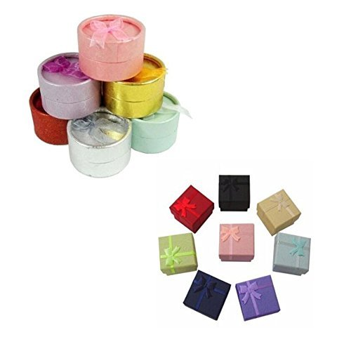 12 PCS Random Color Round and Square Shape Cutely Small Gif t Giftbox Present Box for Ring Earrings Jewelry (12 pcs Assorted Color and Shape)