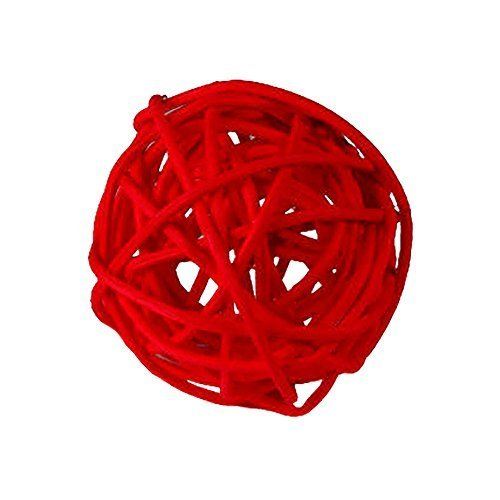"Custom & Fancy {4"" Inch} Approx 90 Pieces of Large Round Ball ""Table"" Party Confetti Made of Premium Rattan w/ Natural Look Simple Romantic Love Rose Colored Modern Twig Nest Scatter Design [Red]"