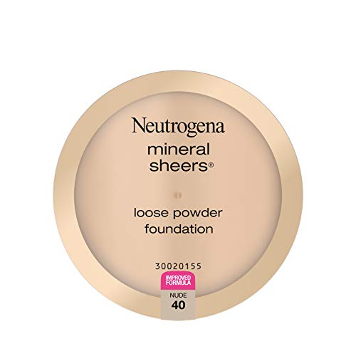 Neutrogena Mineral Sheers Lightweight Loose Powder Makeup Foundation with Vitamins A, C, & E, Sheer to Medium Buildable Coverage, Skin Tone Enhancer, Face Redness Reducer, Nude 40,.19 oz
