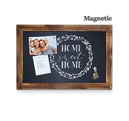 Rustic Torched Wood Framed Magnetic Wall Art Chalkboard ...