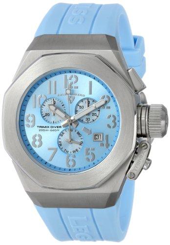 Swiss Legend Men's 10542-012-BBL Trimix Diver Chronograph Light Blue Dial Light Blue Silicone Watch
