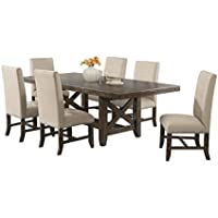 Abbey Avenue D-SCO-F7P 7 Piece Scout Dining Set-Table and 6 Fabric Side Chairs, Chestnut