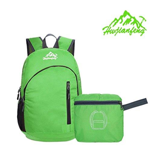 Fulltime (TM) Durable Impermeable Plegable Packable ligero bolsas de viaje mochila de senderismo mochila, hombre mujer Infantil, morado, 26x43x20cm verde
