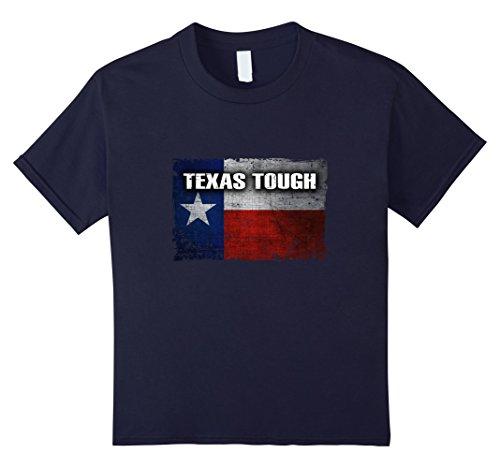 Kids Texas Tough Flag - Cool Distressed Texas T-Shirt 12 Navy (Texas Flag Tough)