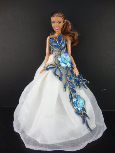 White Gown with Large Blue Applique Flowers Made to Fit Barbie Doll
