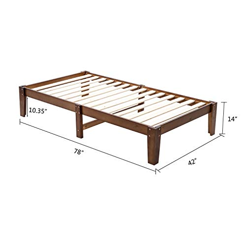 Bonnlo 14 Inch Solid Wood Platform Bed Frame, No Box Spring Needed, Twin Size, Rustic Pine Finish