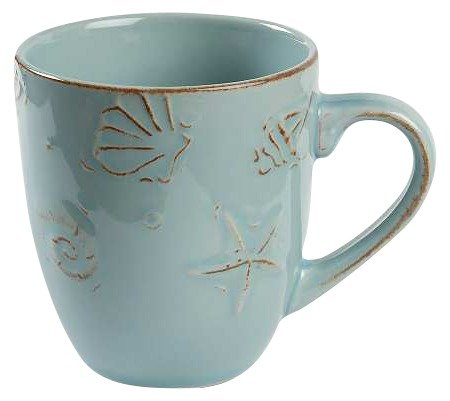 Thomson Pottery Cape Cod Embossed Seashell Design Aqua Blue Dinner Mugs, Set of 4 (Cape Thomson)