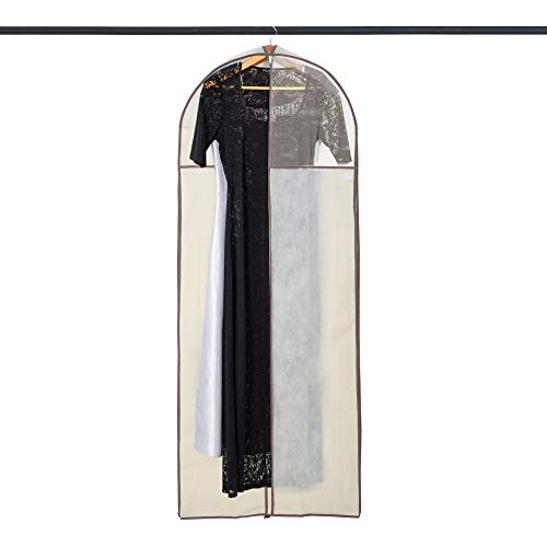 Smart Design Gusseted Gown Garment Bag w/ Clear Window - Includes Zipper Closure & Travel Loop - for Gowns