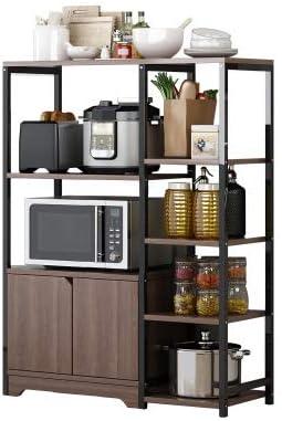 Estante de almacenamiento Baiyiq para cocina, suelo de cocina con varias capas, multifunción, condimento para microondas, horno, Material, marrón, threelayers