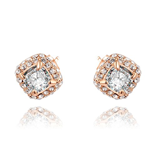 Price comparison product image Duo La Elegant 18K Rose Gold Plated Cubic Zirconia Asscher-Cut Halo Luxury Stud Earrings