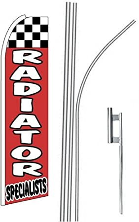 2 two RADIATOR SPECIALISTS red//wh 15 Swooper #4 Feather Flags KIT