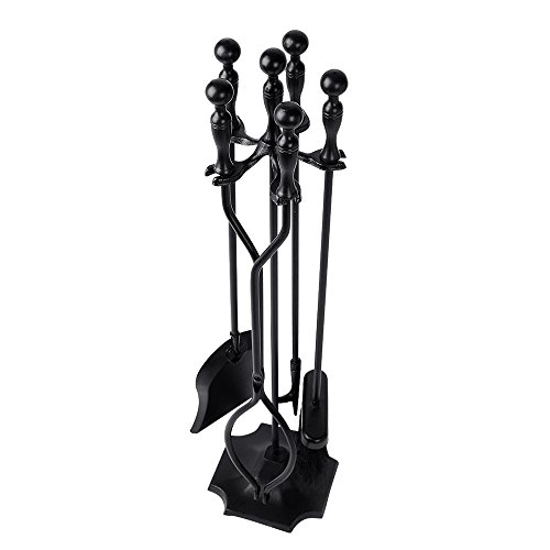 Fireplace Kits - 5 Pieces Fireplace Tools Tool Set Wrought Iron Fireset Firepit Fire Place Pit Poker Wood Stove Log Tongs Holder Tools Kit Sets with Handles Modern Black Fireplaces Hearth Decor Accessories