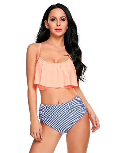 Esqlotre Womens Falbala Ruffled Striped Floral Two Piece Bikini Bathing Suit