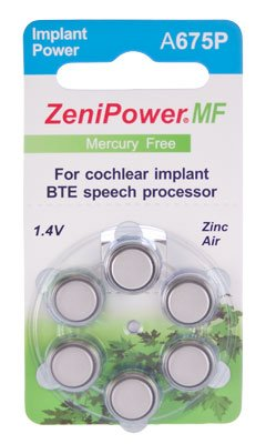 ZeniPower Cochlear Implant Batteries Size A675P Zero Mercury (60 Batteries)