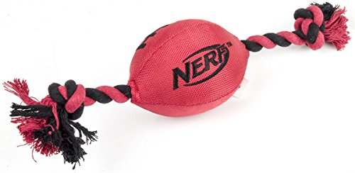 Nerf Dog Plush Tuff Tug Football Rope, 15-Inch, Red