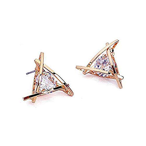 Carfeny Rose Gold Stud Earrings Triangle Shaped CZ Earrings for Women Expertly Made of Sparkling Starlight Round Cut Cubic Zirconia, ❤️Gift for Her❤️