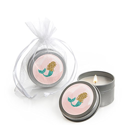 (Let's Be Mermaids - Candle Tin Baby Shower Favors - Set of 12)
