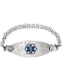 Custom Engraved Lovely Filigree Medical Alert Bracelet -Handmade Byzantine-Deep Blue