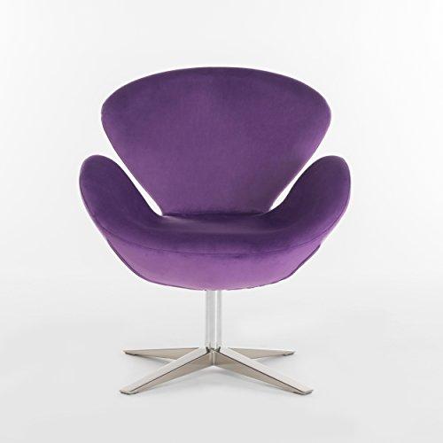 Christopher Knight Home 299461 Athena Velvet Modern Swivel Petal Chair, Eggplant