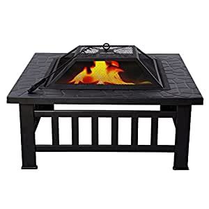 "Outdoor 32"" Square Stove Fire Metal Firepit Patio Garden Pit Brazier Metal"