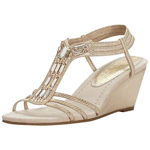 T-strap Bridal Shoes - David's Bridal Metallic Wedge Sandals with Jeweled T-Straps Style GIVEMORE, Nude, 9.5
