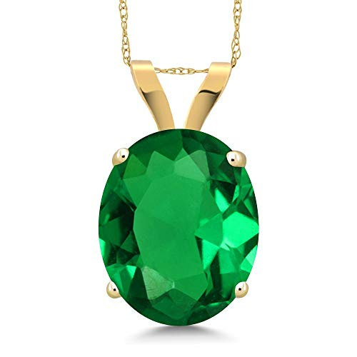 (Gem Stone King 3.63 Ct Oval Green Simulated Emerald 14K Yellow Gold Pendant With)