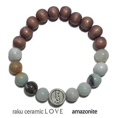 Carved Scarab Beads - KarmaArm Meditation Bracelet | Abundant Love | Self-Care Wellness Wristband | Stretch Chakra Zen Reiki Healing Energy Jewelry | Boho Yoga Bead Mala | Amazonite | Wood | Raku Ceramic (7.5)