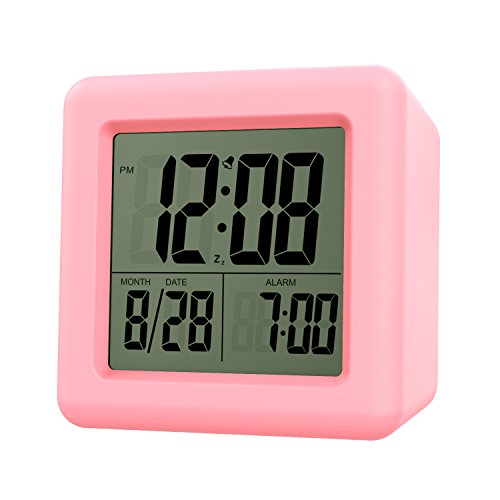 - MoKo Digital Alarm Clock, Wake Up Alarm Table Bedside Clock LCD Display Battery Powered Small Clock with Snooze Function/Calendar/Backlight for Bedroom Home Office - Pink