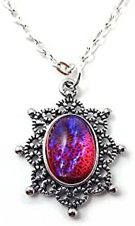 Mexican Opal Dragons Breath Victorian Silver Snowflake 20 in Necklace 10x14mm Glass Stone