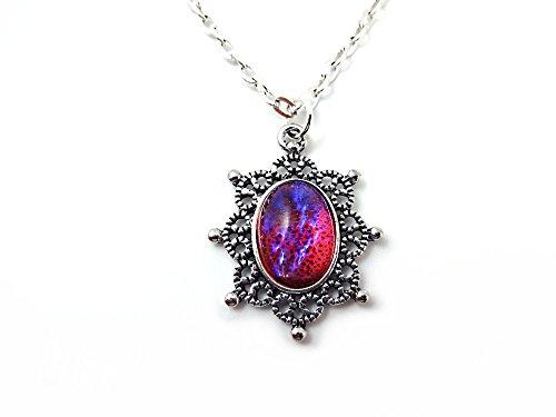 Little Gem Girl Czech Glass Mexican Fire Opal Dragons Breath Victorian Silver Snowflake Necklace 10x14mm ()