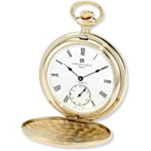 Charles-Hubert, Paris 3907-GR Premium Collection Gold-Plated Stainless Steel Polished Finish Double Hunter Case Mechanical Pocket Watch