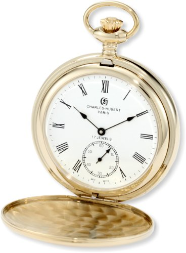 Charles-Hubert, Paris 3907-GR Premium Collection Gold-Plated Stainless Steel Polished Finish Double Hunter Case Mechanical Pocket Watch by Charles-Hubert, Paris