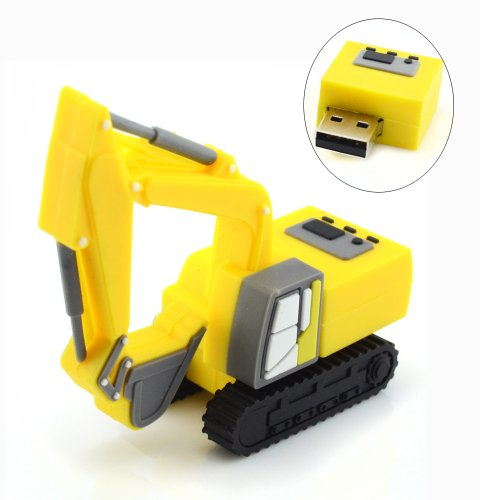 16GB Excavator Design USB Flash Drive (Yellow) Design Excavator