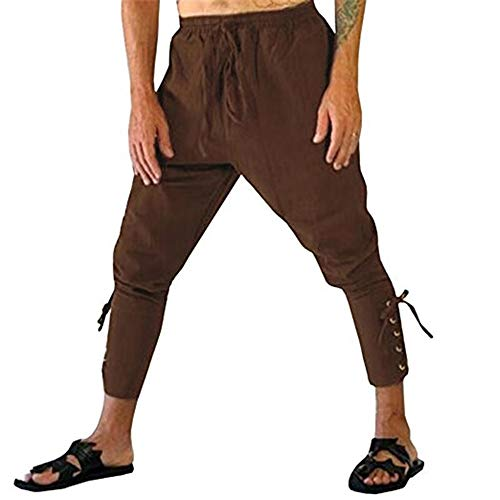 Hanwe Men's Medieval Renaissance Pirate Pants Ankle Banded Viking Trousers Cosplay Costume Brown M -