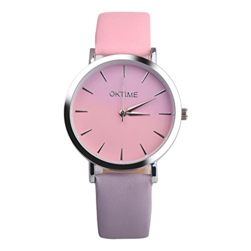 Womens Watches, Retro Rainbow Design Leather Band Analog Alloy Quartz Wrist Watch colorful (B)
