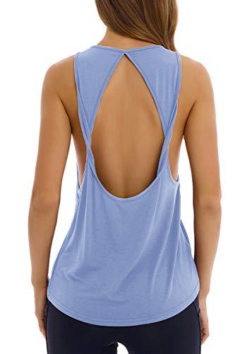 Fihapyli Women's Twist Open Back Yoga Shirts Activewear Sleeveless Workout Tops Sports Tanks Yoga Tops Loose Fit Workout Shirts Exercise Workout Clothes Muscle Tee Shirt Active Tops LightBlue S ()