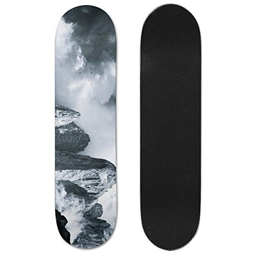 Photography Monochrome Nature Landscape Mountains Clouds Jakub Polomski Italy Dolomites Vogue Double Warped Skateboard Deluxe Longboard Skate Boards by ZCXN